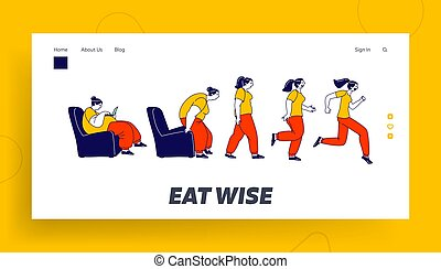 Weight Loss Landing Page Template. Fat Female Character Getting Up, Running and Become Thin Transformation. Stage by Stage of Obese Woman Turning into Healthy Body. Linear People Vector Illustration
