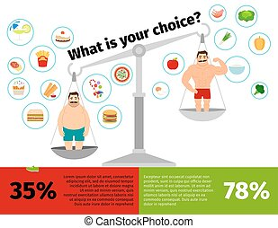 Weight loss man scales infographics