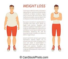 Weight Loss Man Transformation Vector Illustration - Weight...