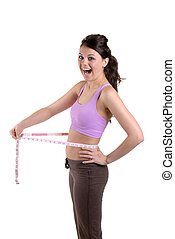 Weight Loss - Pretty Young Woman Teasing With A Tape Measure