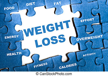 Weight loss puzzle - Weight loss blue puzzle pieces...
