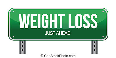 weight loss road sign illustration design over a white...