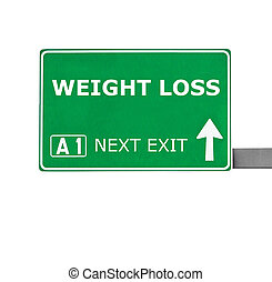 WEIGHT LOSS road sign isolated on white