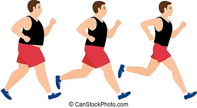 Weight loss running man. Fat and slim man before and after...