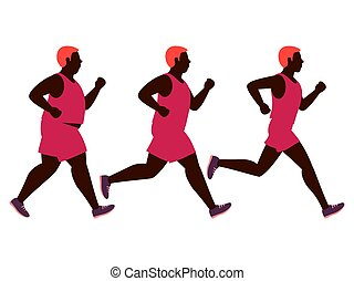 Weight loss running man illustration. Fat and slim man before and after jogging vector isolated on white background