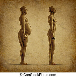 Weight loss symbol represented by an overweight man and a...