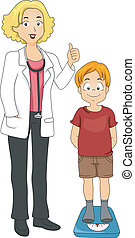 Weight Measurement - Illustration of a Kid with His Weight...