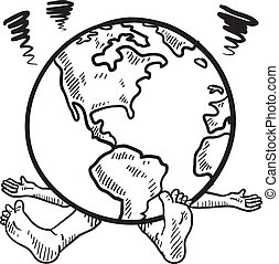 Weight of the world sketch - Doodle style weight of the ...