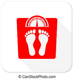 weight red flat icon with long shadow on white background