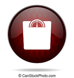 weight red glossy web icon on white background