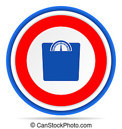 Weight round icon, red, blue and white french design illustration for web, internet and mobile applications