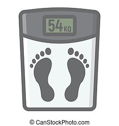 Weight scale filled outline icon, fitness and sport, diet sign vector graphics, a colorful line pattern on a white background, eps 10.