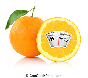 Weight scale on an orange, diet concept