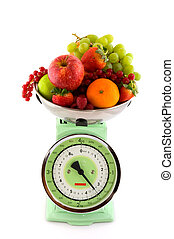 weight scale with fruit