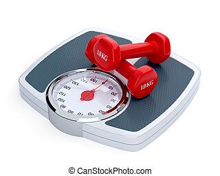 3d render of weight scale with red dumbbells isolated on white background