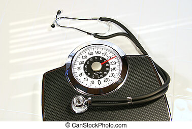 Weight scale with stethoscope