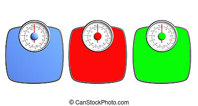 Weight scales colorful isolated on white background, top view. 3d illustration