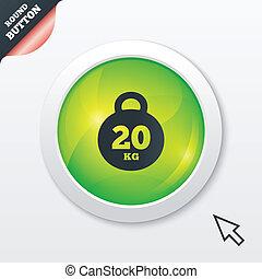 Weight sign icon. 20 kilogram (kg). Sport symbol