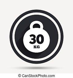 Weight sign icon. 30 kilogram (kg). Sport symbol.