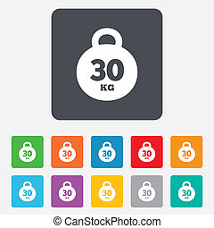 Weight sign icon. 30 kilogram (kg). Sport symbol