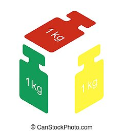 Weight simple sign. Isometric style of red, green and yellow icon.