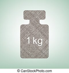 Weight simple sign. Vector. Brown flax icon on green background with light spot at the center.