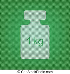 Weight simple sign. white icon on the green knitwear or woolen cloth texture.
