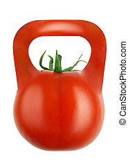 Weight-tomato isolated on white background with clipping path