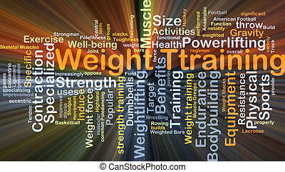 Weight training background concept glowing