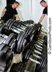 Weight training equipment in fitness club