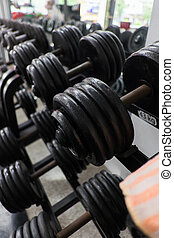 weight training in gym bodybuilding equipment
