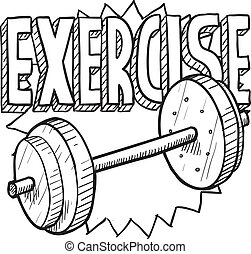 Doodle style gym workout or weight exercise sports illustration. Includes text and freeweights.