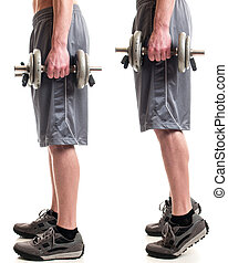 Weighted Calf Raise - Weighted calf raise exercise. Studio...