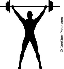 A Silhouette of a weightlifter pressing weights