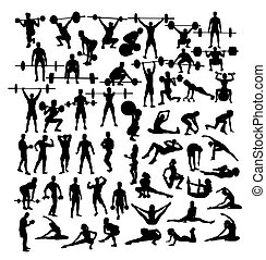Weightlifter and Gym Fitness Exercise Activity Silhouettes,...