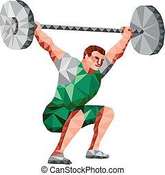 weightlifter, barbell, niski, podnoszenie, wielobok
