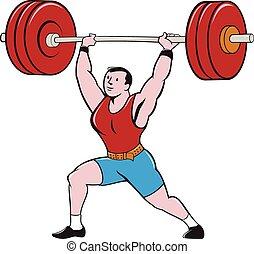 weightlifter, barbell, odizolowany, podnoszenie, rysunek