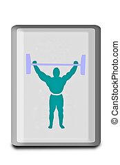 weightlifter, biały, odizolowany, tło, znak