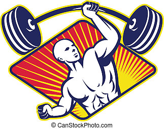 Weightlifter Body Builder Lifting Barbell - Illustration of...