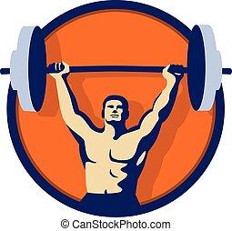 weightlifter, círculo, retro, levantamento, barbell