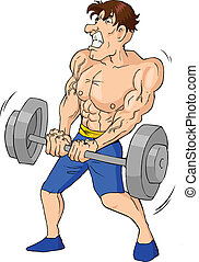 Weightlifter - Caricature of a muscular male figure doing...