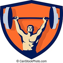 weightlifter, crista, retro, levantamento, barbell