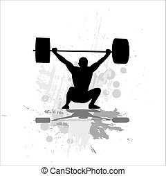 Weightlifter exercising-isolated on white background.