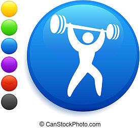 weightlifter icon on round internet button original vector...