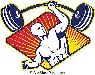 weightlifter, koerper, hantel, heben, bauunternehmer