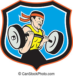 Weightlifter Lifting Barbell Shield Cartoon
