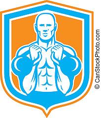 Weightlifter Lifting Kettlebell Shield Retro