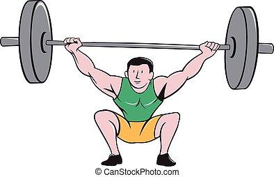 weightlifter, pesos, deadlift, levantamento, caricatura