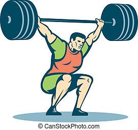 weightlifter, retro, podnoszenie, barbell