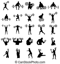 Weightlifter silhouette set